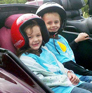 Ride for Kids Stars Megan (left) and Brycen get ready to ride